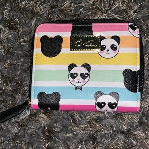 Betsey Johnson Panda Rainbow zip around Wallet